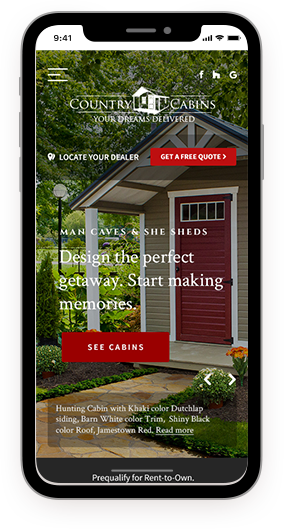 Country cabins webpage on a smartphone