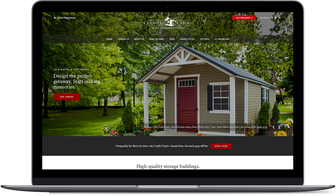 Country Cabins website