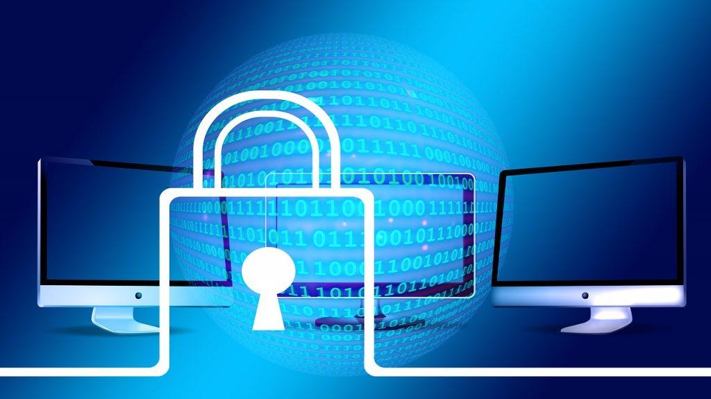 padlock logo overlaying computer monitors