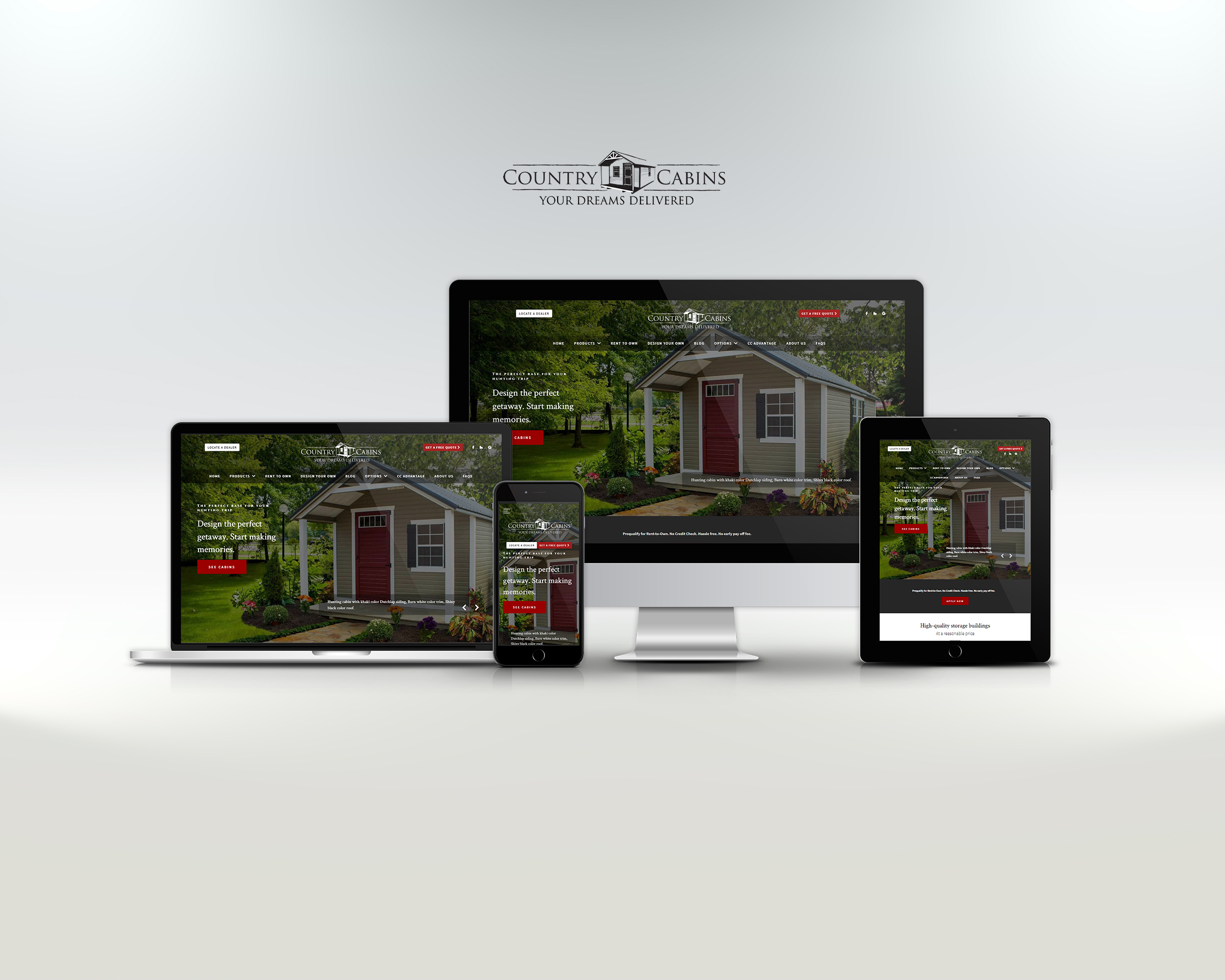 country cabins website displayed on laptop, tablet, and phone
