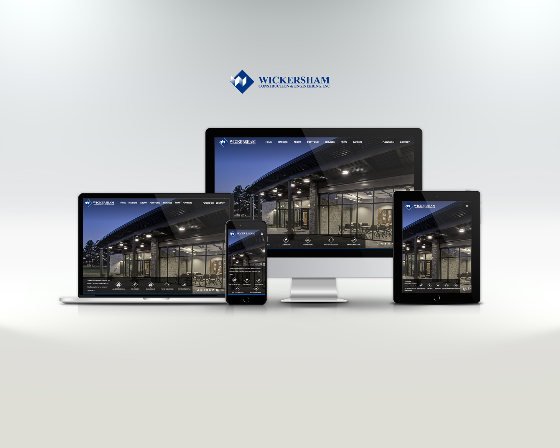 wickersham construction website displayed on laptop, tablet, and phone
