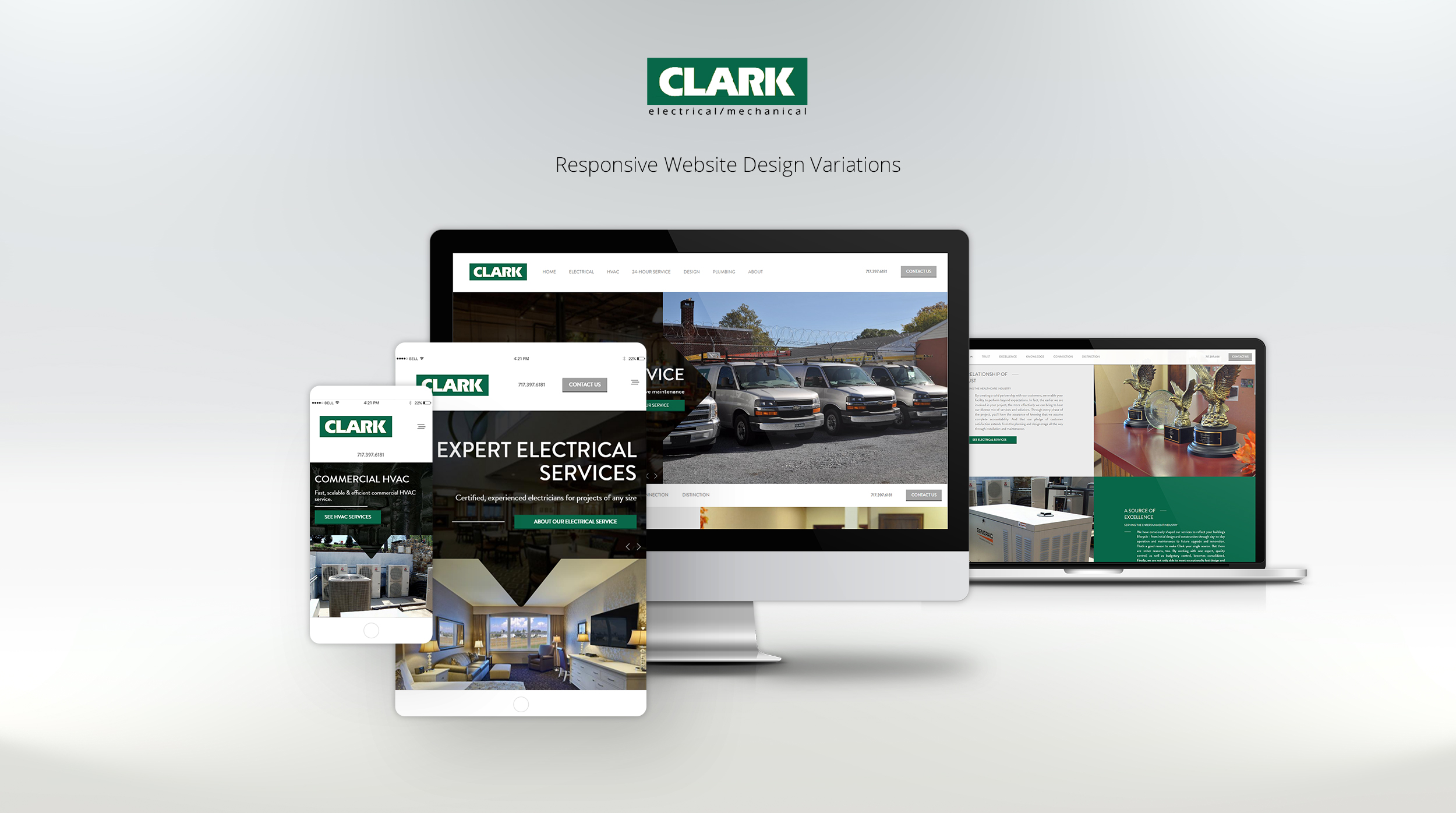 clark website displayed on laptop, tablet, and phone