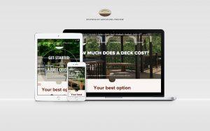 decks r us website displayed on laptop, tablet, and phone