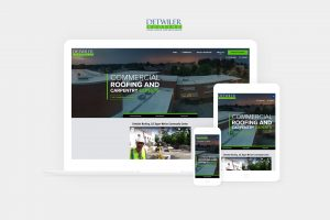 detwiler roofing website displayed on laptop, tablet, and phone