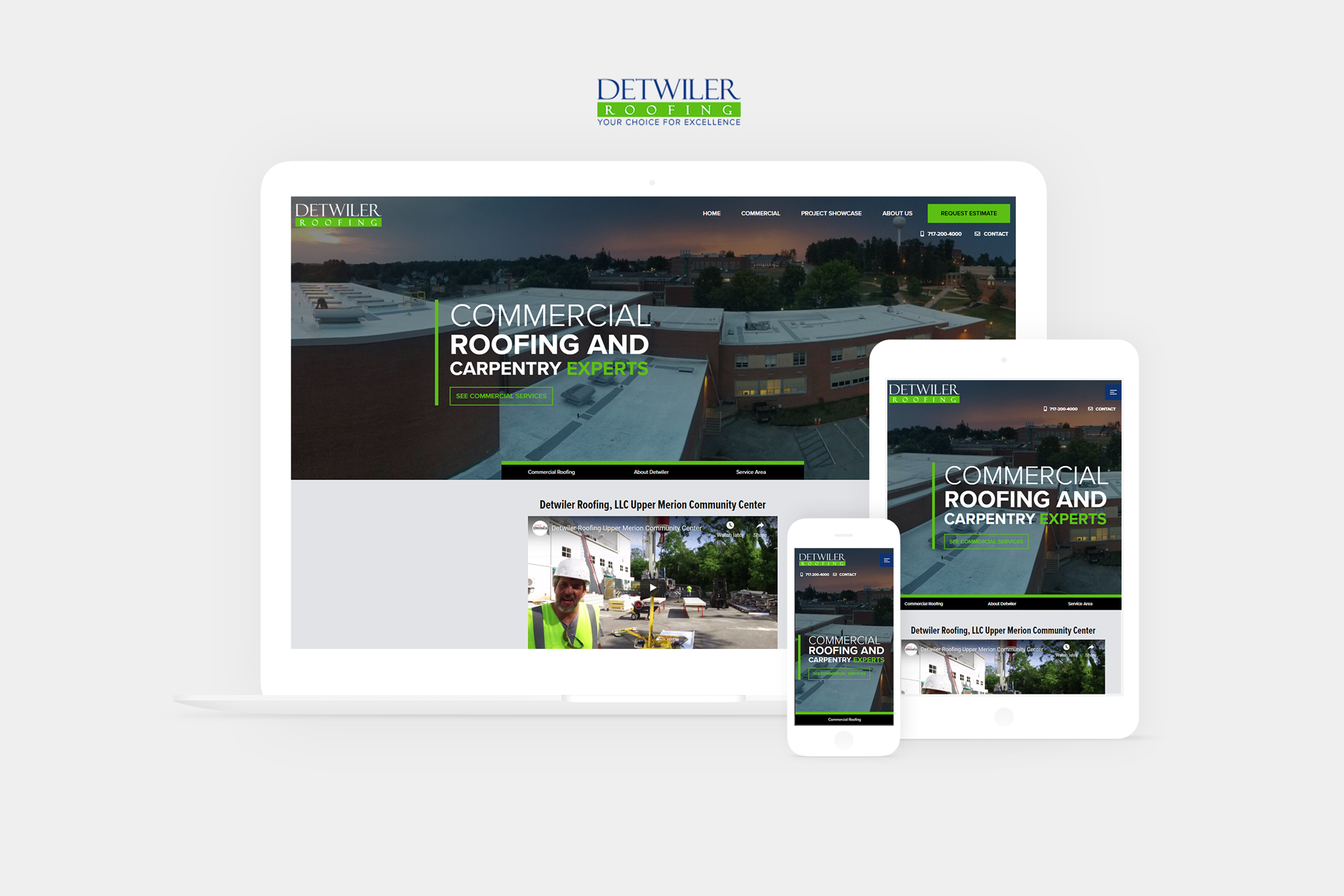 detwiler roofing website displayed on laptop, tablet, and phone