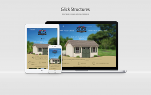 glick structures website displayed on laptop, tablet, and phone