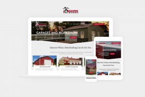 lancaster pole buildings website displayed on laptop, tablet, and phone