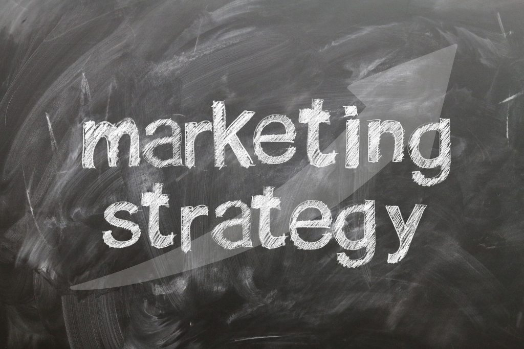 marketing strategy on black board