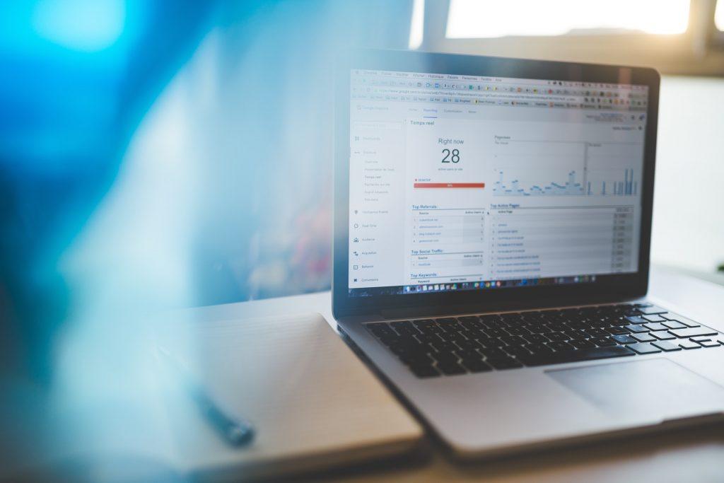 Laptop displaying google analytics