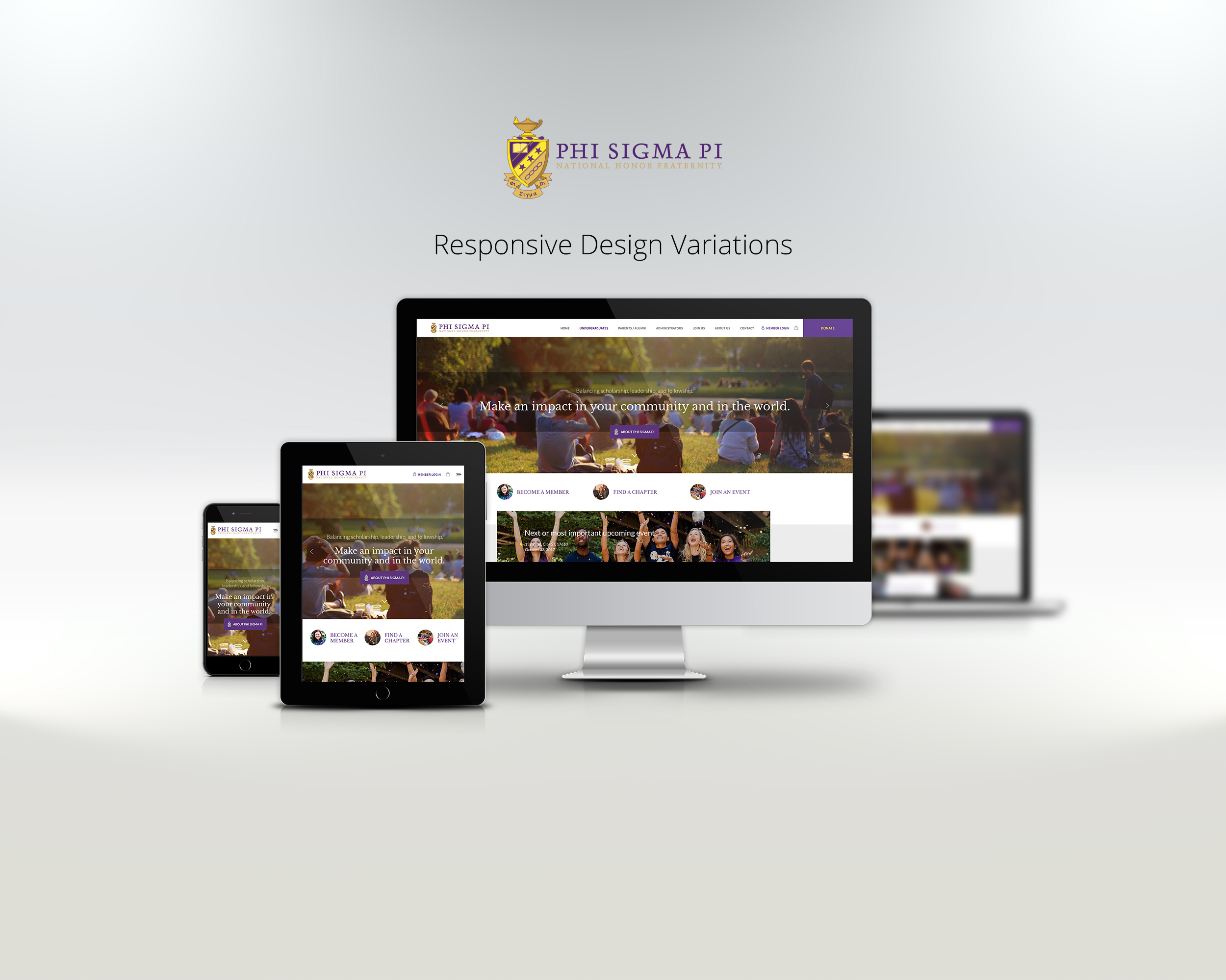 phi sigma pi website displayed on laptop, tablet, and phone