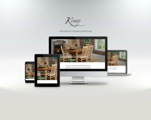 kings acres website displayed on laptop, tablet, and phone