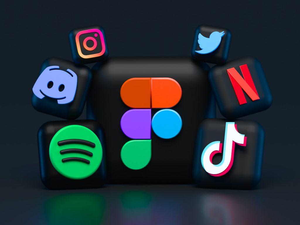 Assortment of social media logos including Instagram, Twitter, Netflix, TikTok, Spotify, and Discord